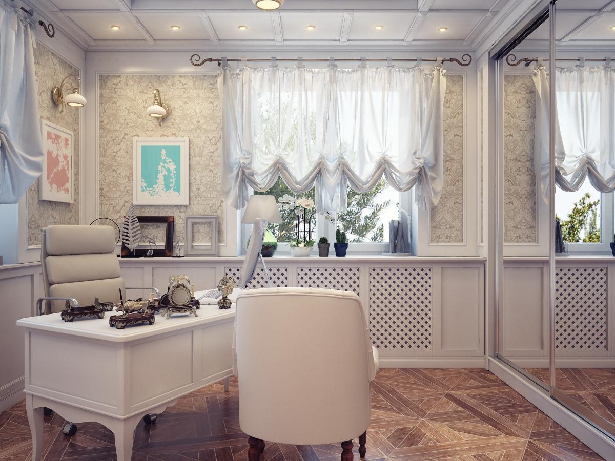 Женский кабинет светлый с изящной мебелью и декором