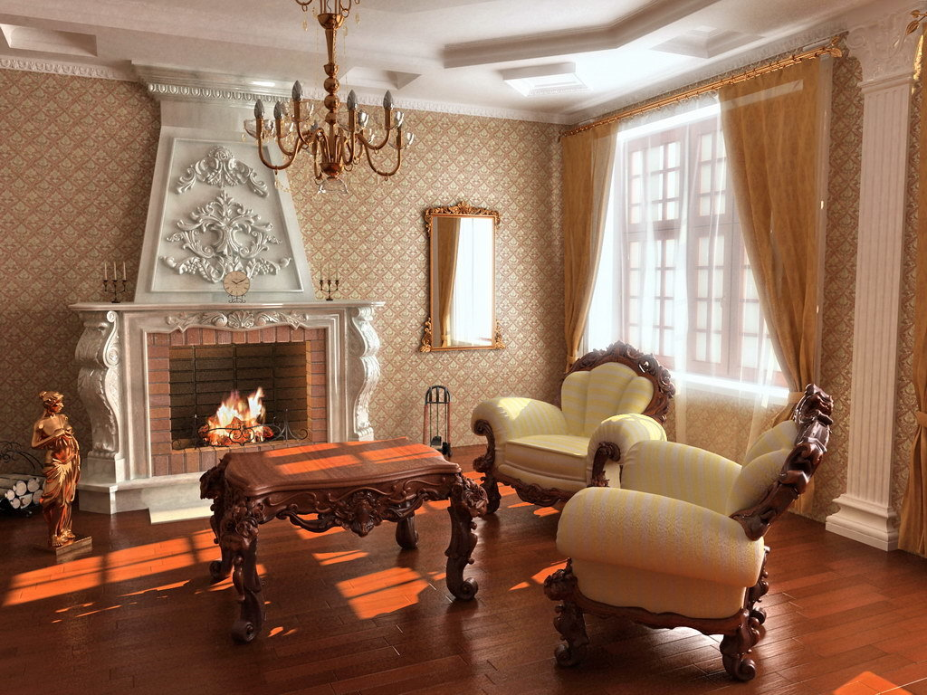 Естественный свет попадает в помещение сквозь огромные окна гостиной и отражается в многочисленных зеркалах