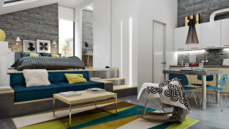 Сделайте яркие точечные акценты: плакаты, ковры, необычная мебель