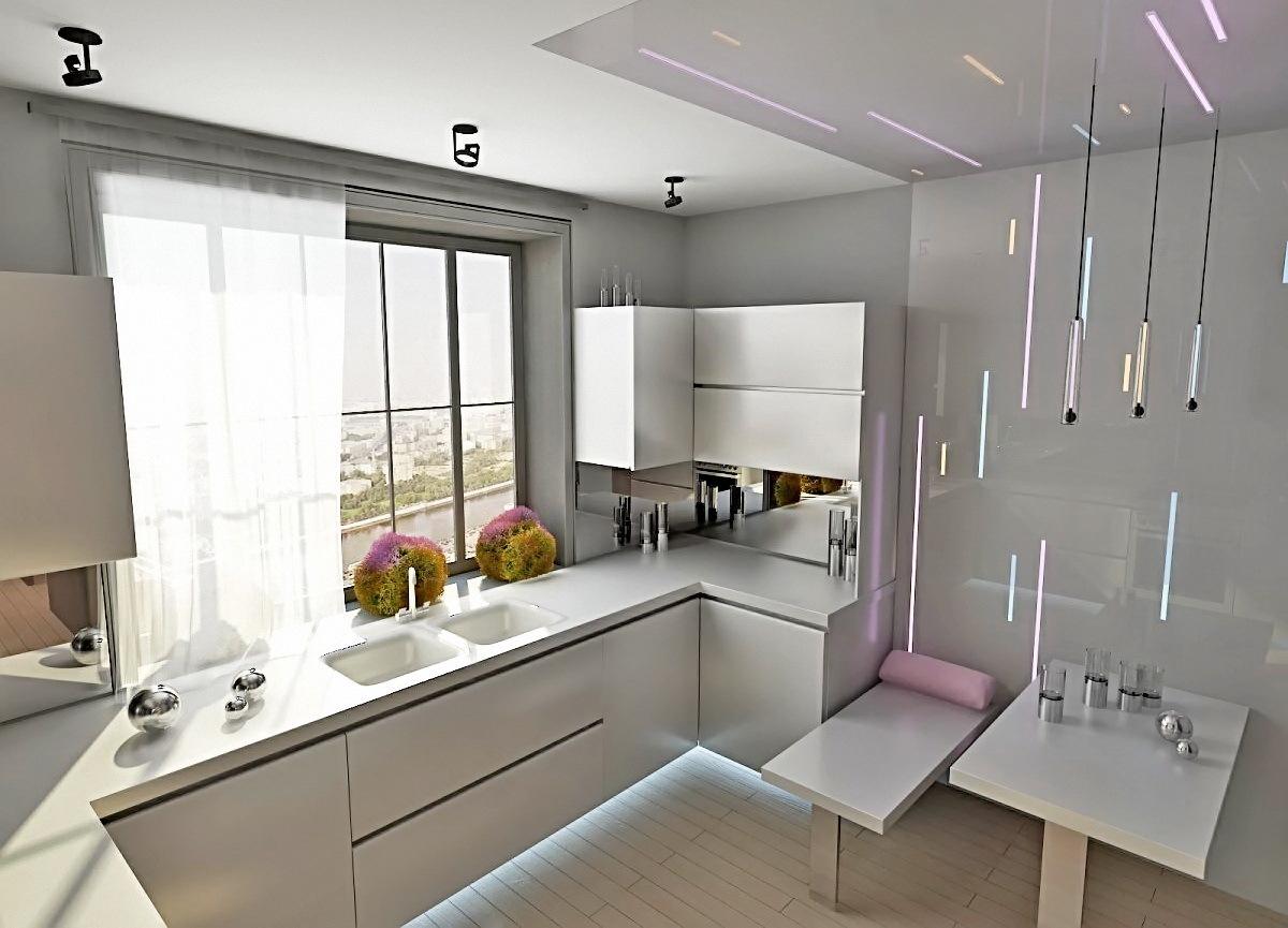 Глянцевые поверхности и большое количество стекла делают помещение более просторным