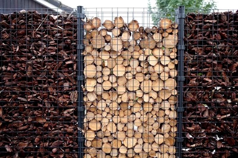 Деревянные брусы и спилы  используют во временных сезонных габионах