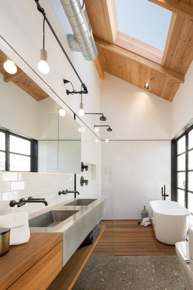Подвесная мебель в ванной лофт