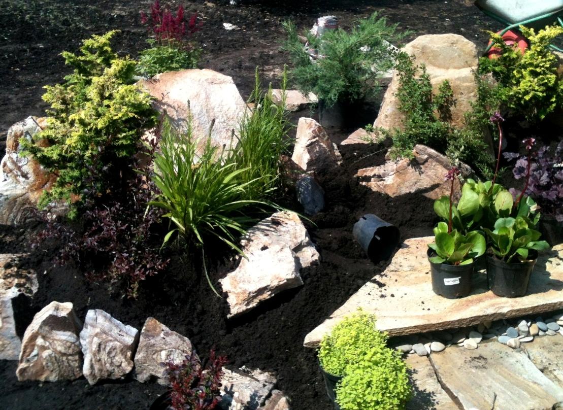 Насыпаем и уплотняем подготовленный растительный грунт слоем 15-20см.