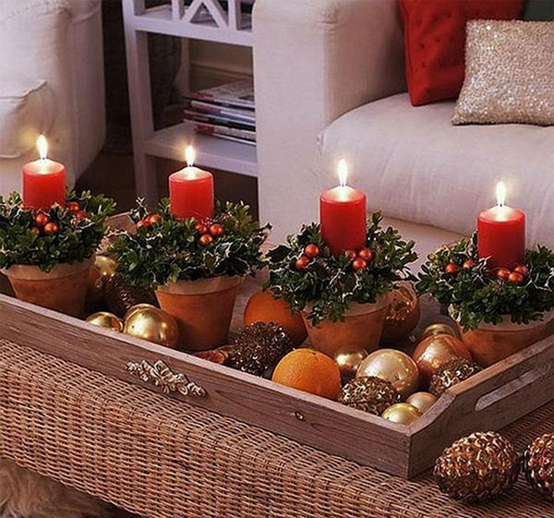 Композиция из свечей и фруктов
