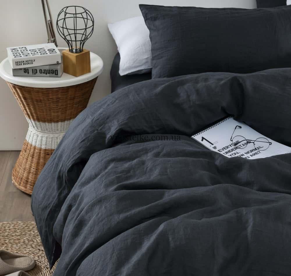 Льняное постельное белье тёмно серого цвета, графит