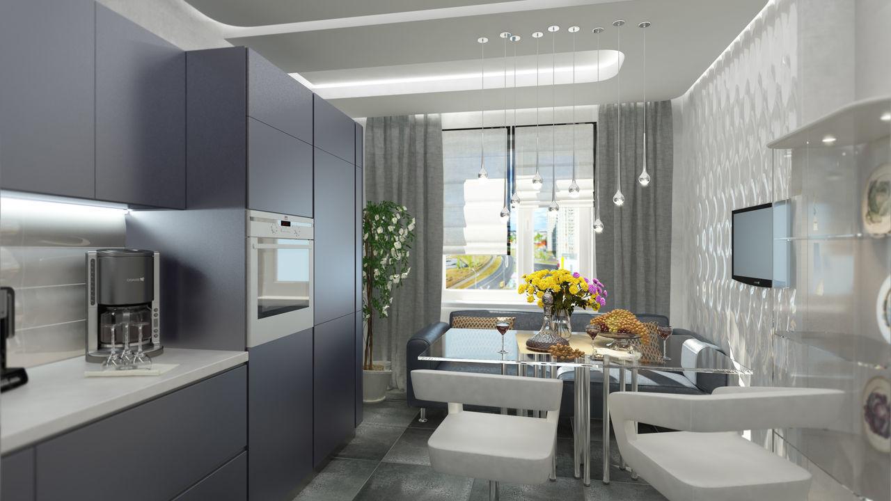 Для кухни в стиле »хай-тек» характерно рациональное использование пространства.