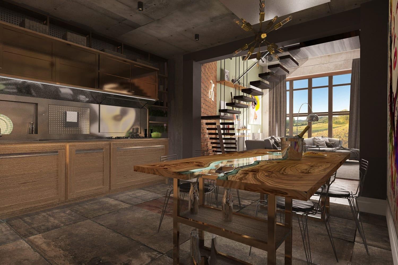 Гостиная с камином в стиле loft.
