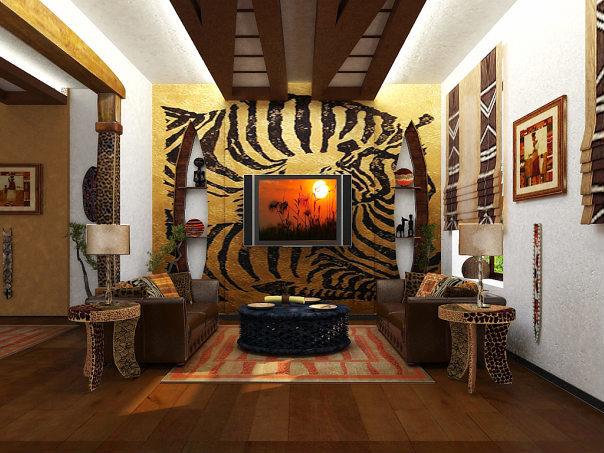 Яркие ткани с африканскими силуэтами, имитации шкур животных, радужные круги и зигзаги.
