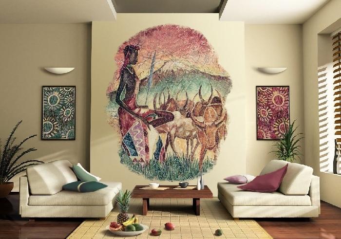 """Интерьер гостиной """"Африка"""" строится на простоте и примитивных формах и линиях."""