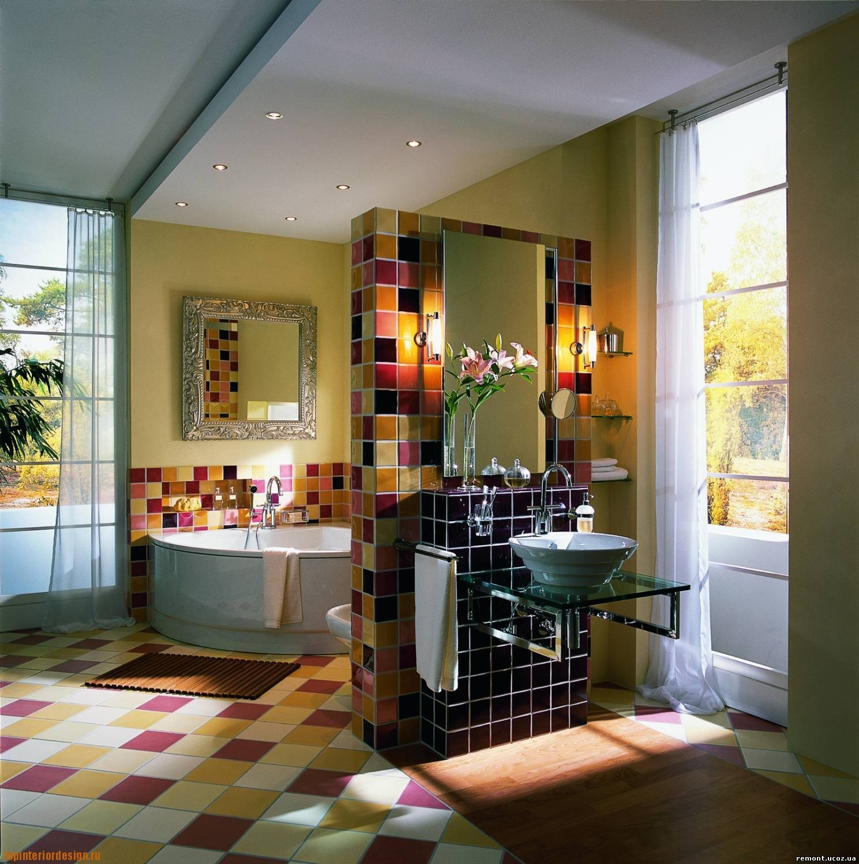 Зонирование ванной комнаты с помощью гипсокартонной конструкции, кардинально изменило интерьер.