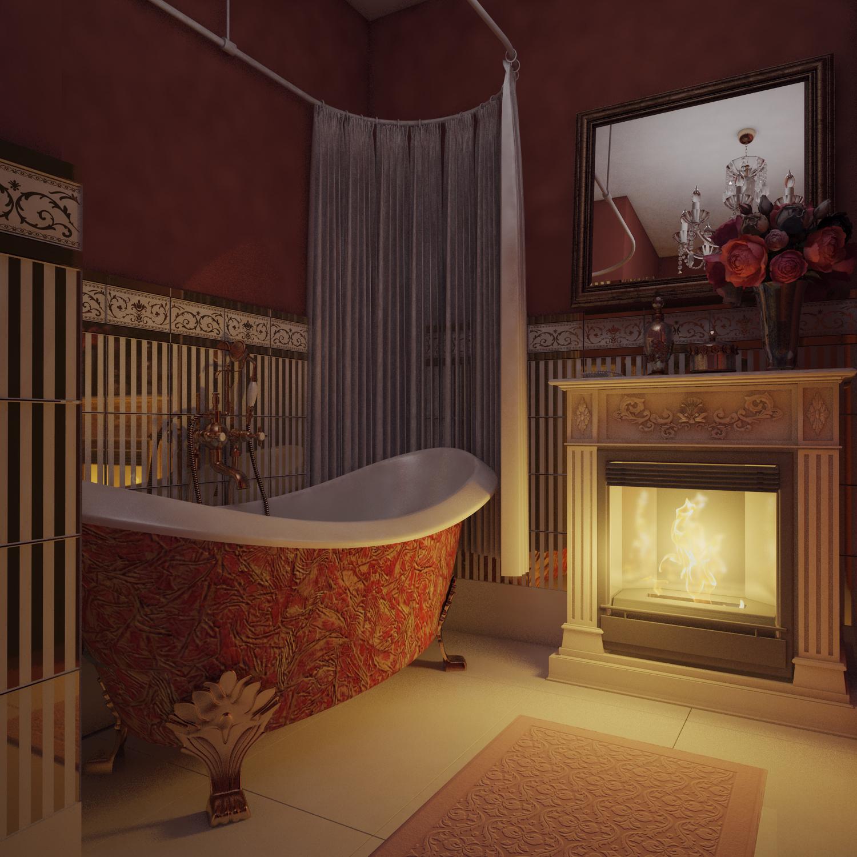 Камин в ванной комнате фото.