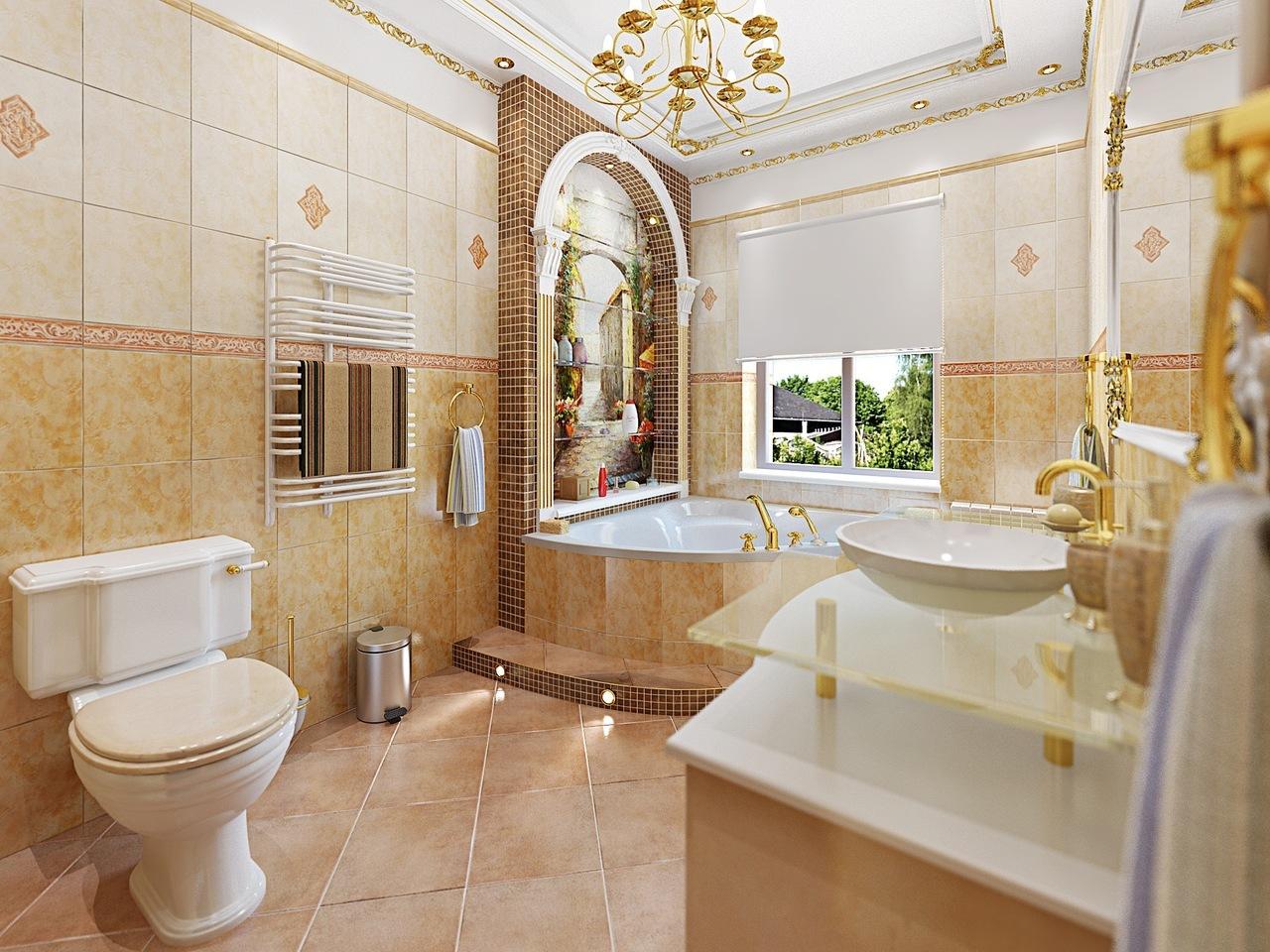 Стиль этой ванной комнаты классический с примесью итальянского стиля. Общее настроение — роскошь, богатство и изысканность.