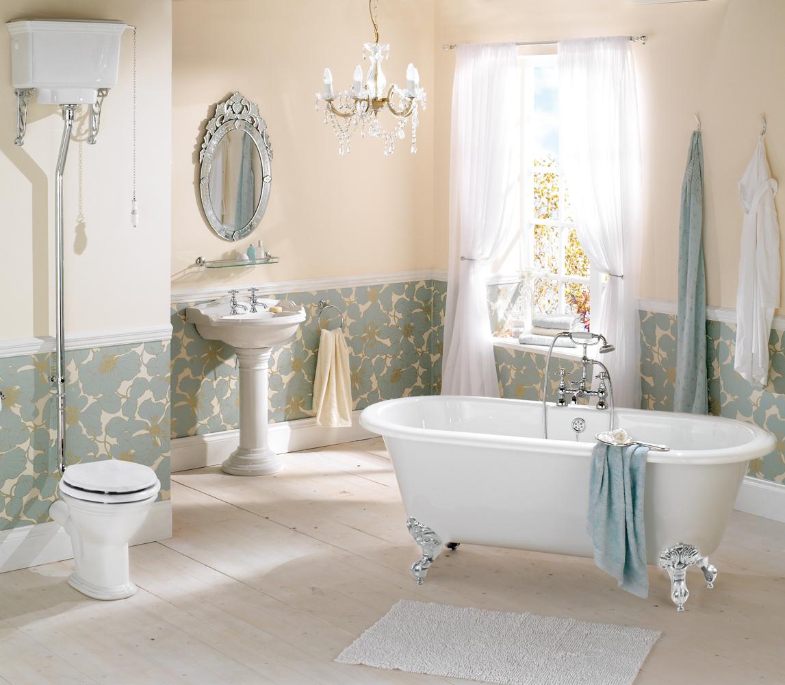 Классический стиль в холодных тонах. Оформление ванной комнаты.