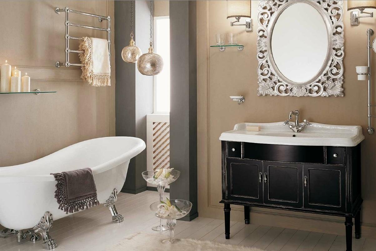 Цветовой оттенок, выделяет мебель для ванной.