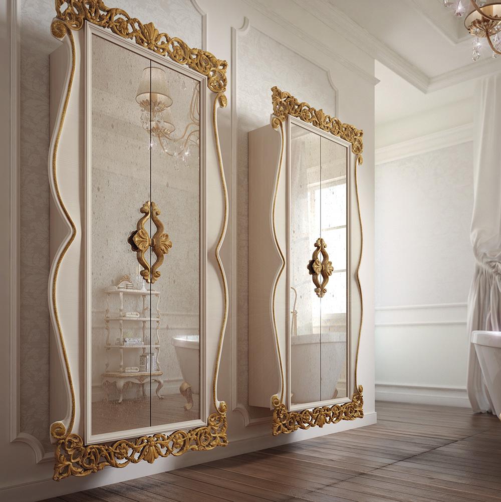 Современная классика позволяет комбинировать стекло с позолотой в отделке ванной комнаты.