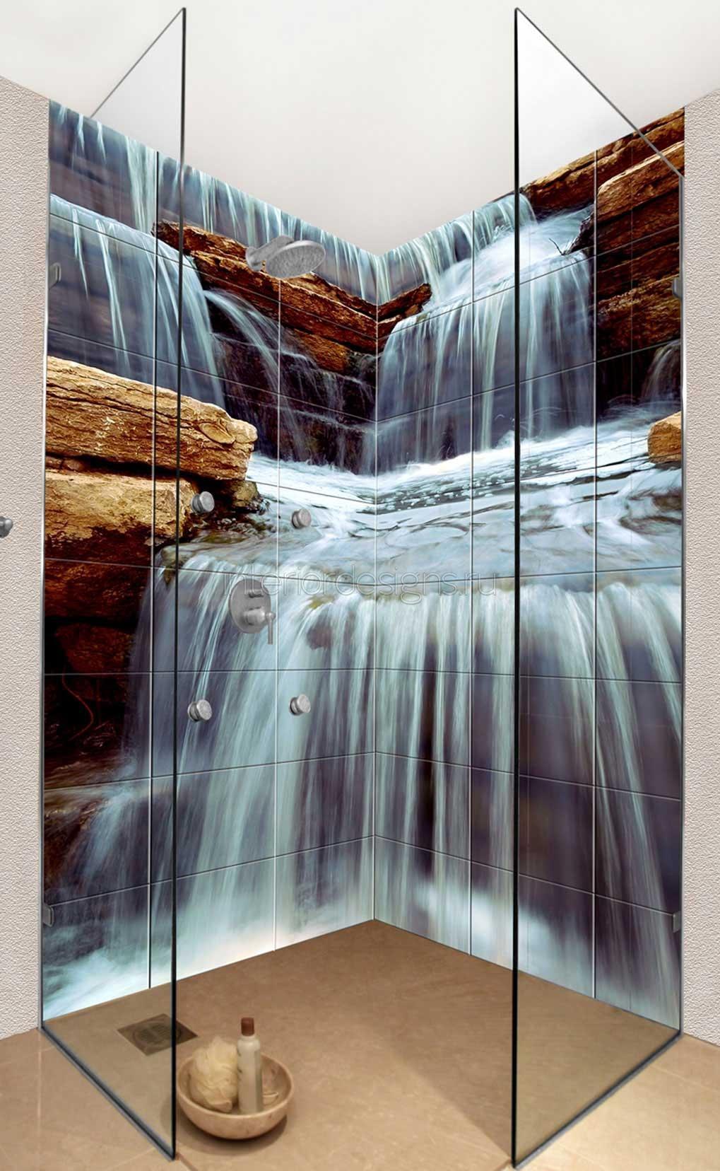 Современные технологии позволяют нанести любое изображение на плитку. Принять душ под струями водопада - нет проблем.