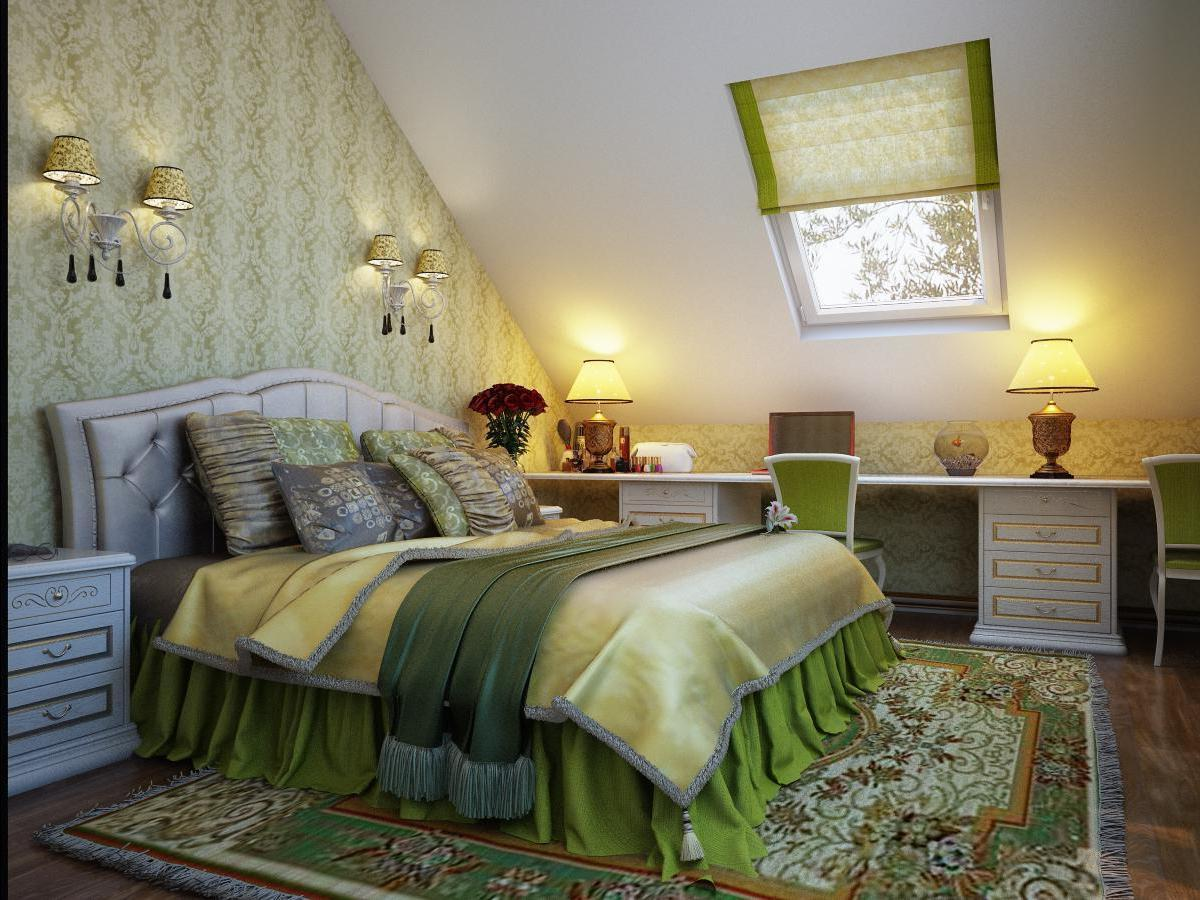 Деревянная кровать, комод и шкаф придают немного дачный вид спальной комнате.