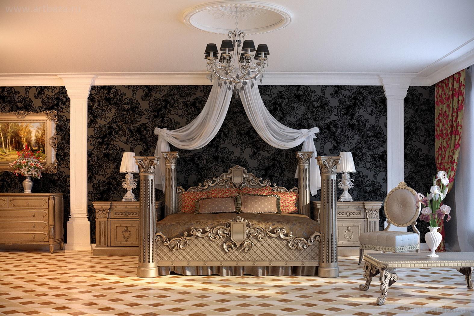 Обивка мебели хлопком, шелком, атласом благородных сдержанных расцветок с ненавязчивым рисунком - идеальный вариант для благородной и роскошной спальни.