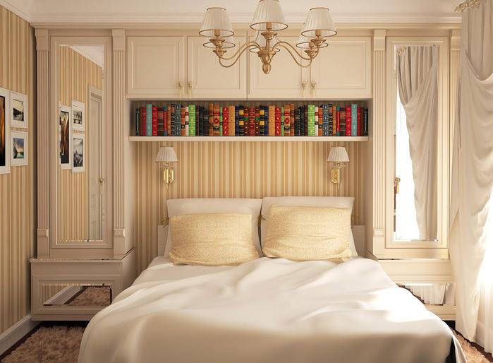 Зеркальные вставки на дверцах облегчают его массивность. Любые вертикальные элементы отделки мебели и стен вытягивают помещение, делают его выше.