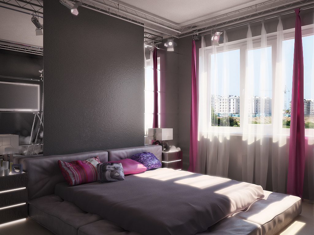 При темной цветовой гамме отделки используйте зеркала на стенах.