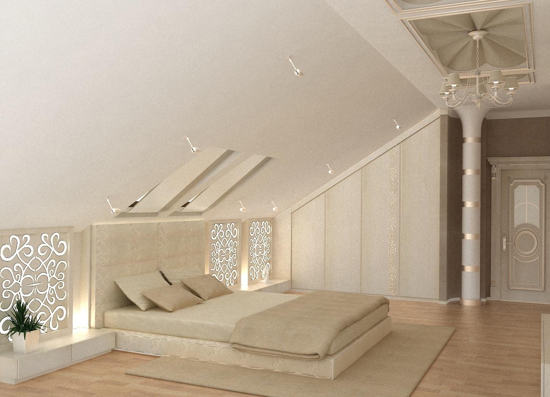 Если комната в мансарде не велика, выбирайте низкую мебель без ножек, в том числе и кровать.