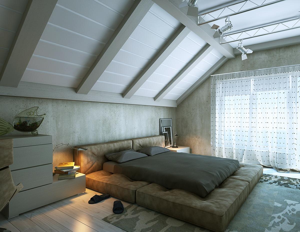 Чтобы подчеркнуть особенности потолка, сделайте акцент на отделке с помощью балок.