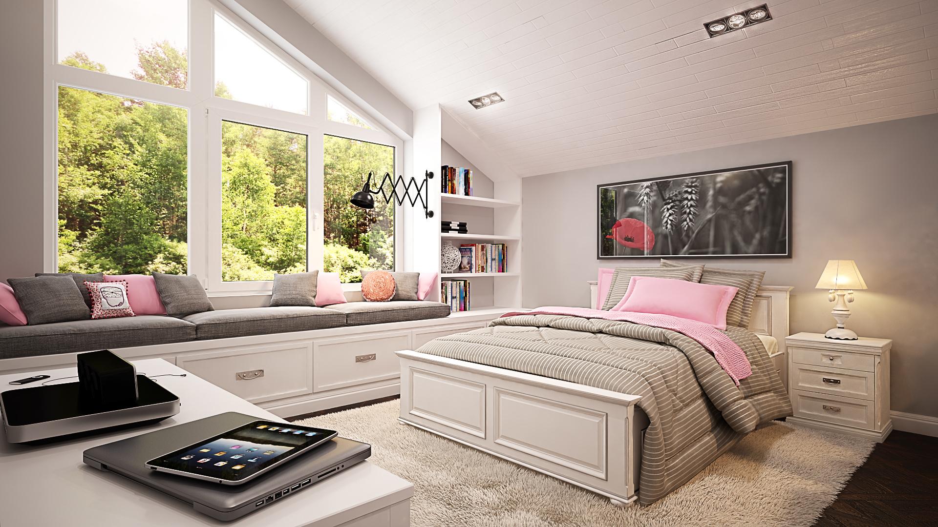 Мебель для спальни в мансарде выбираем с учетом конструкции стен и потолка.