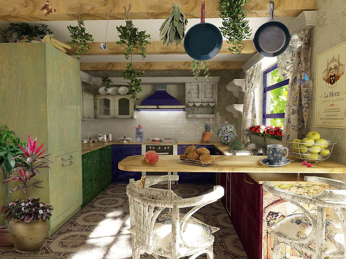 Стиль прованс - это еще и керамика, мозаика, плитка для отделки рабочей зоны.