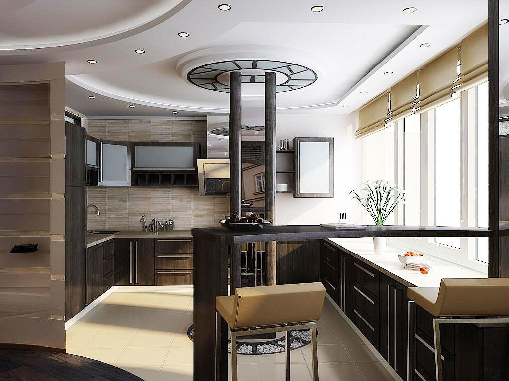 Такая планировка интерьера подходит кухням разного размера.