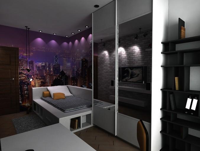Наличие больших зеркал, металлические элементы мебели, сложные потолочные конструкции светильников придутся ребенку по душе.