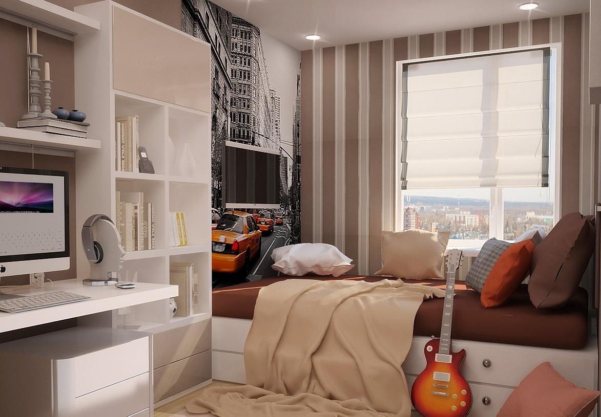 Грамотно проведенное зонирование позволит вам расположить спальное место у окна.