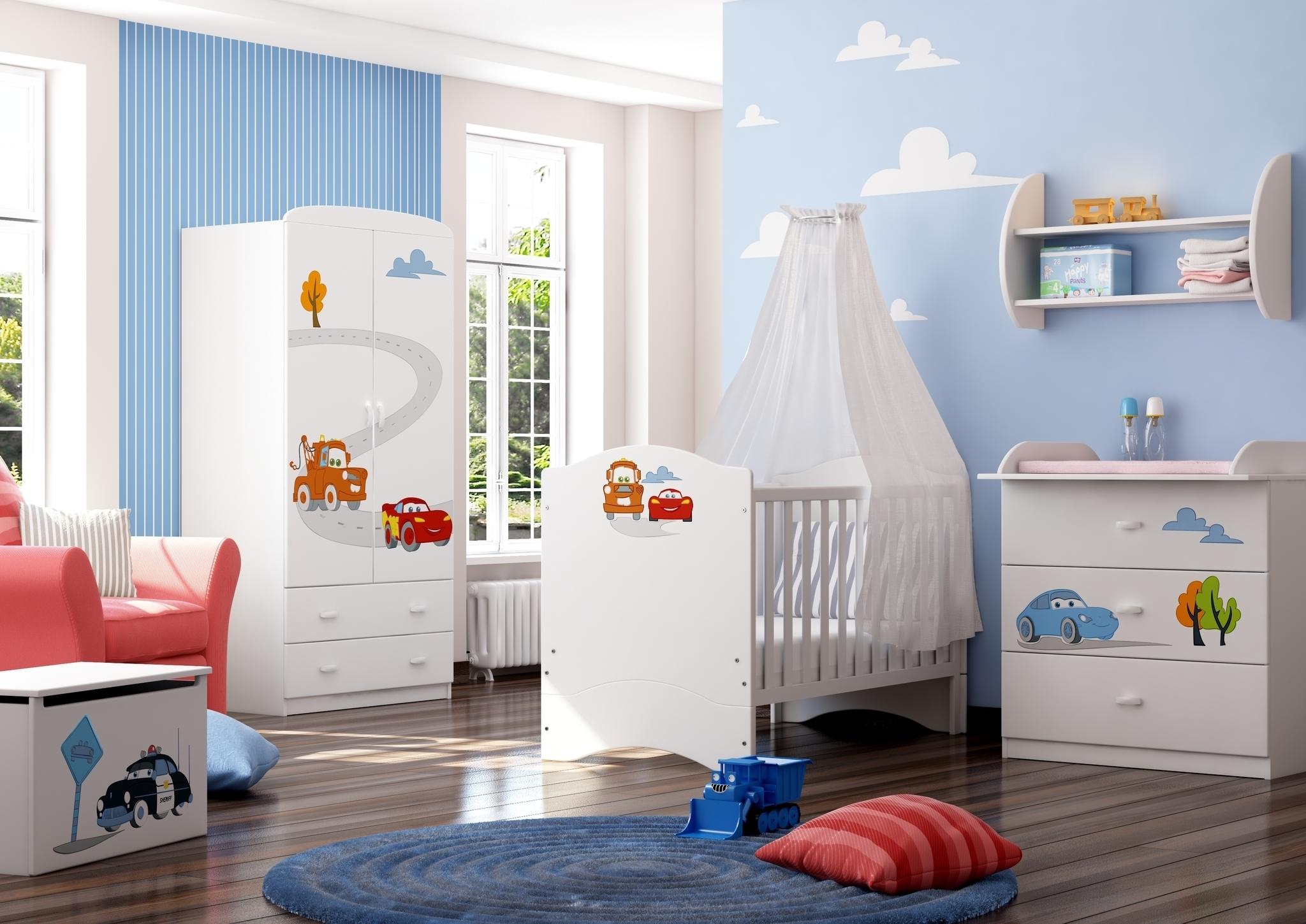 Легкие облака на стенах и потолке создадут атмосферу радостного , счастливого детства.