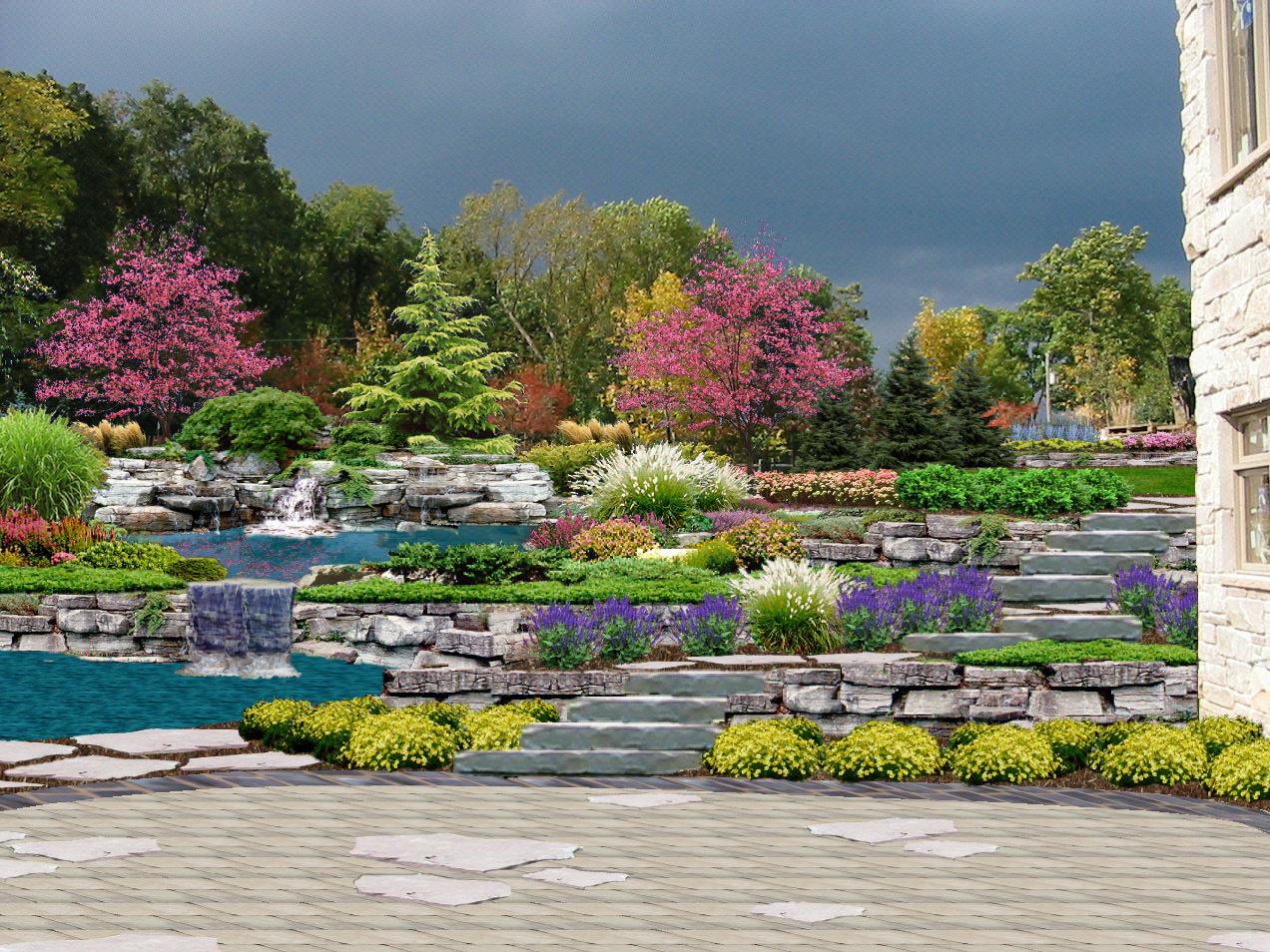 На террасах размещают декоративные посадки, газоны, рокарии, можно создать каскад или водопад с небольшим водоемом.