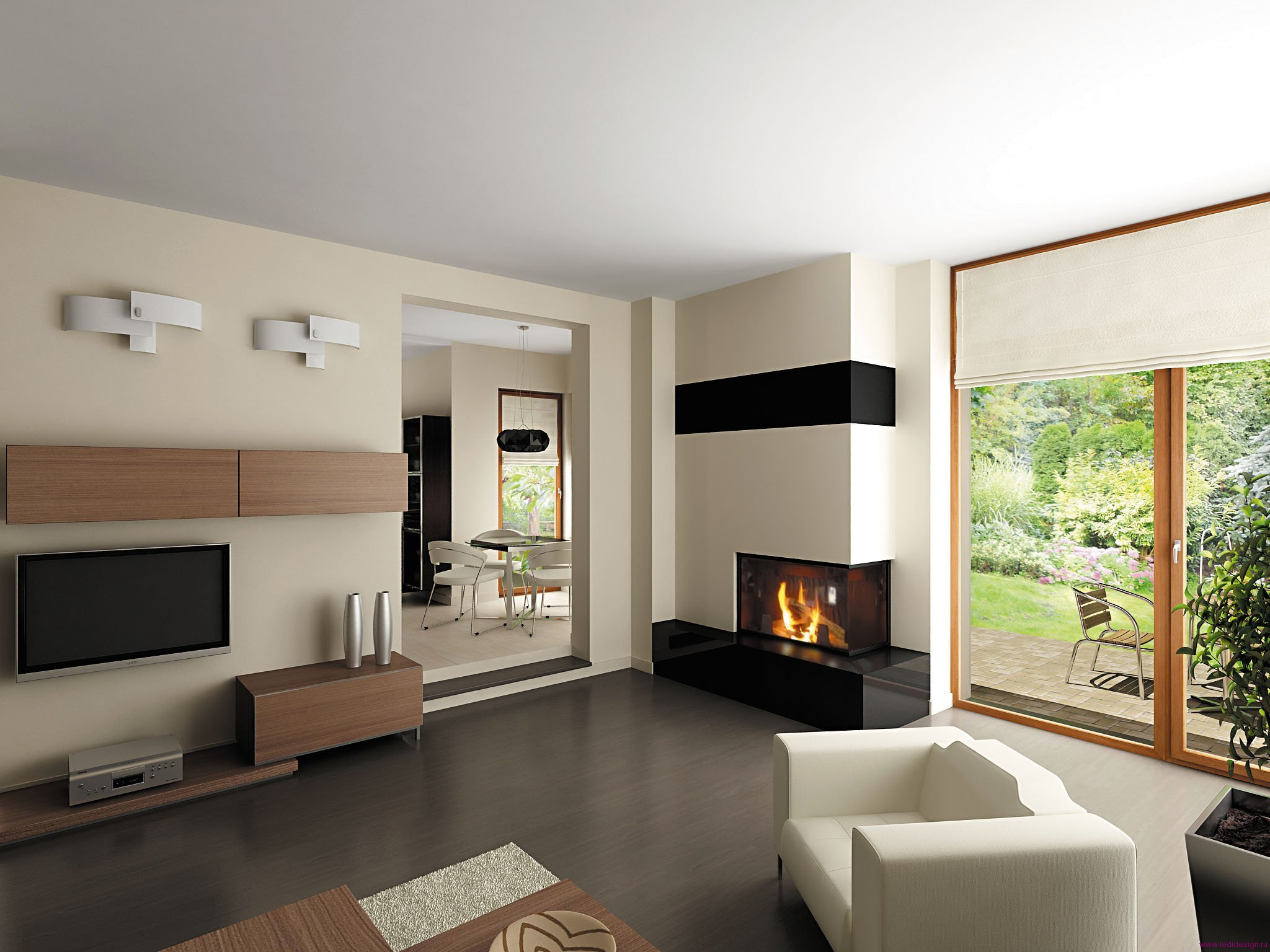 """Для гостиной в стиле"""" хай-тек"""" подойдут раздвижные стеклянные двери и панорамное остекление."""