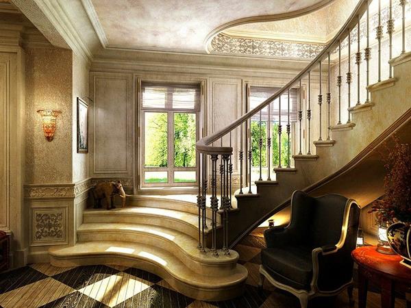Лестницы из мрамора и гранита часто используются в интерьерах классического стиля.