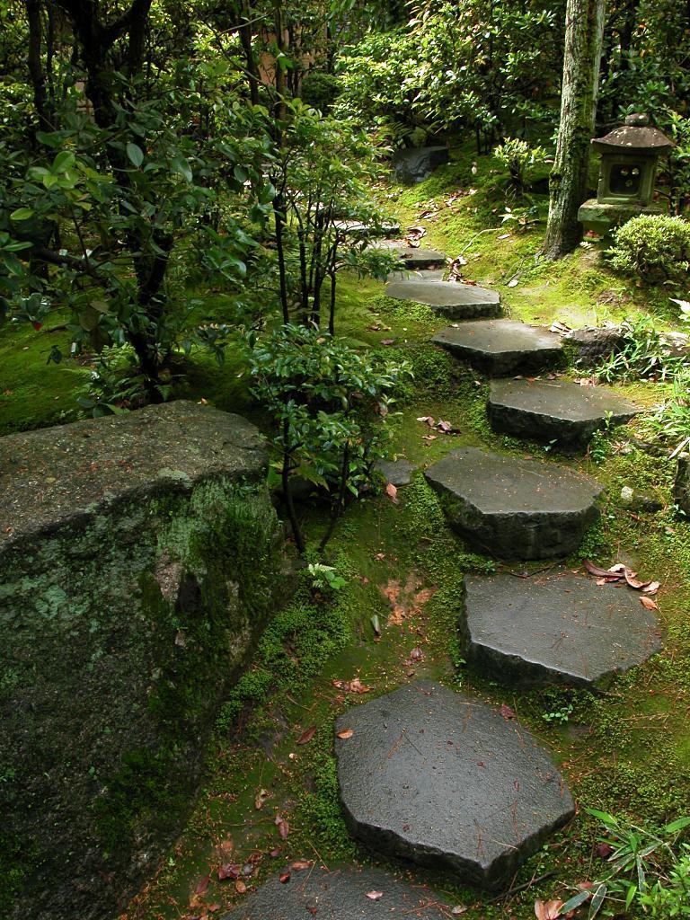 Часто в японском саду камни дорожек покрыты мхом.