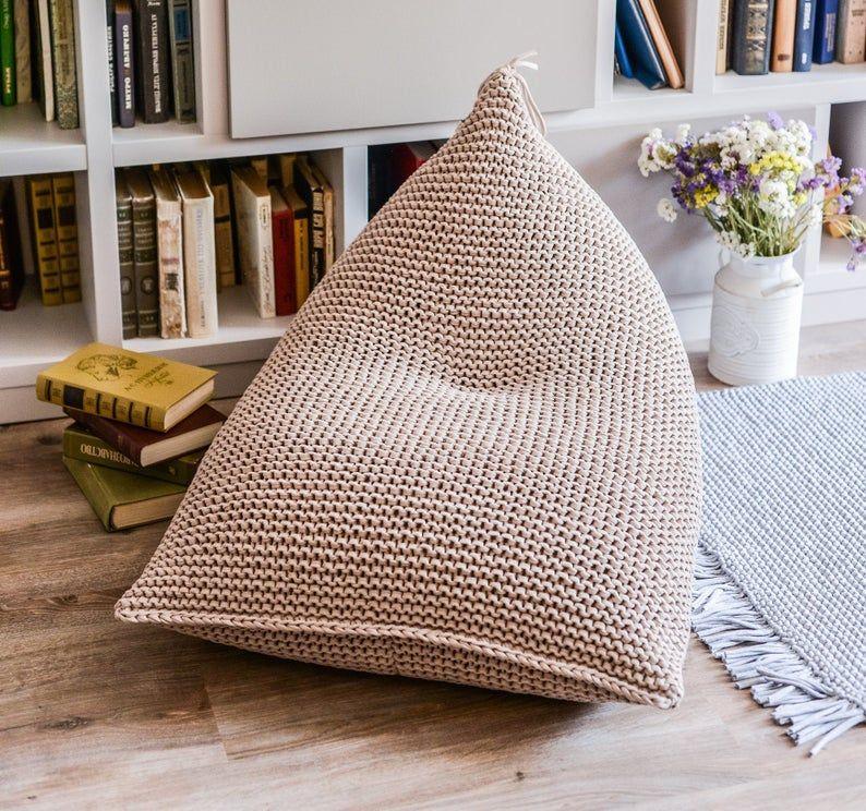 Кресло-мешок с вязанным чехлом