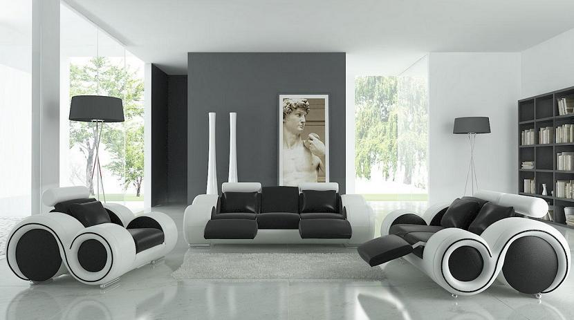 Для гостиной подойдет мебель необычной причудливой(космической) формы, что придаст такому интерьеру особую привлекательность.