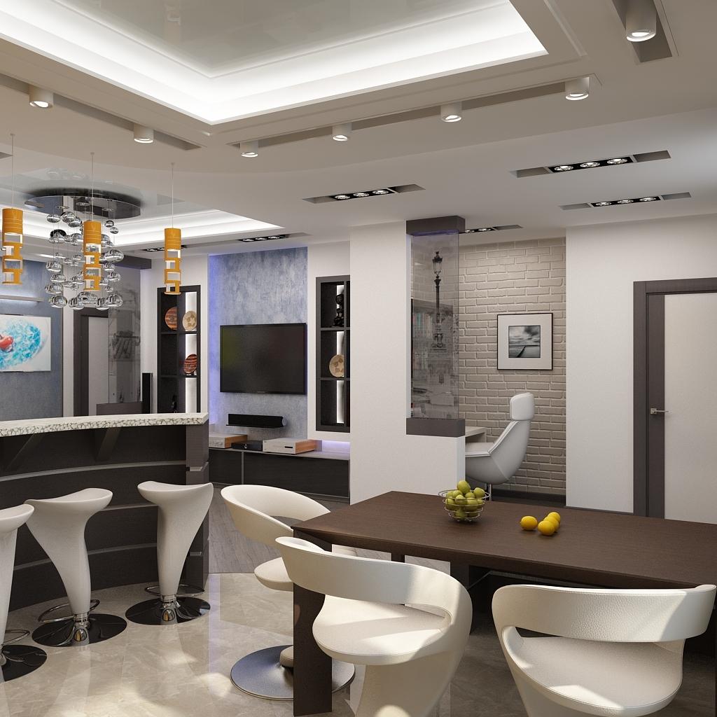 """Особенностью и визитной карточкой гостиной """"хай-тек"""" являются, используемые отделочные материалы: металл,стекло,керамическая плитка, а также искусственный камень и другие современные синтетические материалы."""