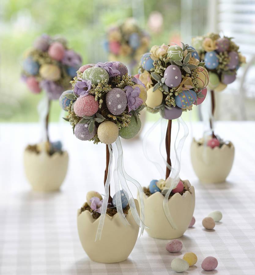 Основной декор выполнен своими руками - крашенки и писанки нежных оттенков весны!