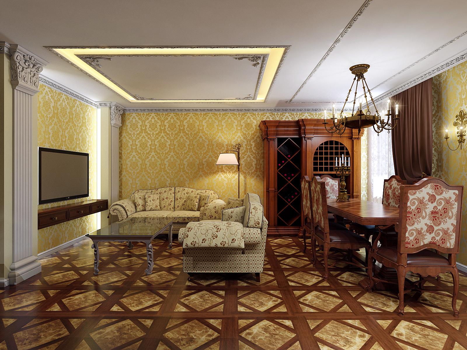 Пол в гостиной лучше отделывать дорогими материалами — от мозаичной кладки паркета из натурального дерева ценных пород и до покрытия из мрамора.