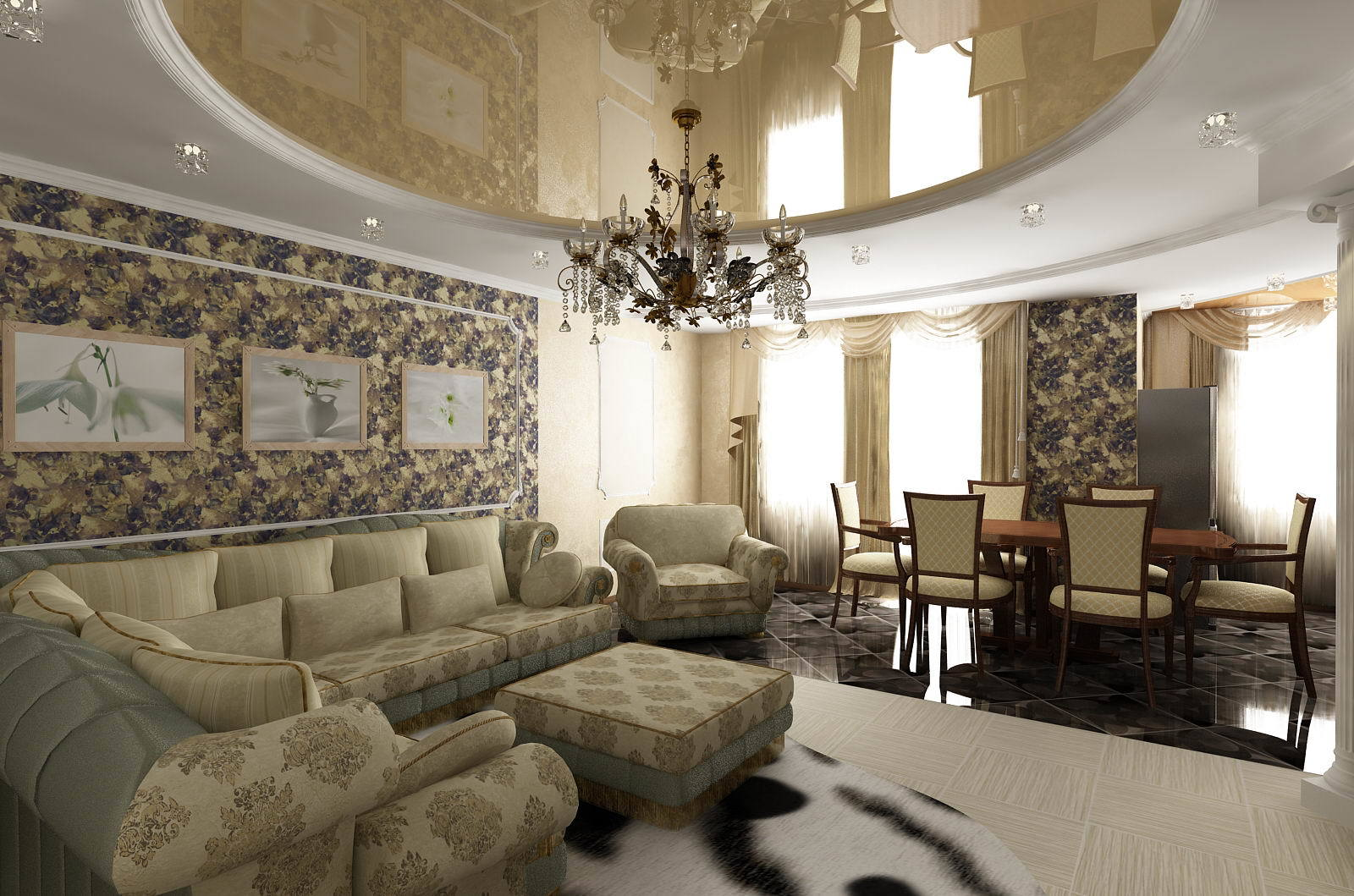 Классическая гостиная отличается спокойными цветами в интерьере, преимущественно пастельными мягкими тонами.