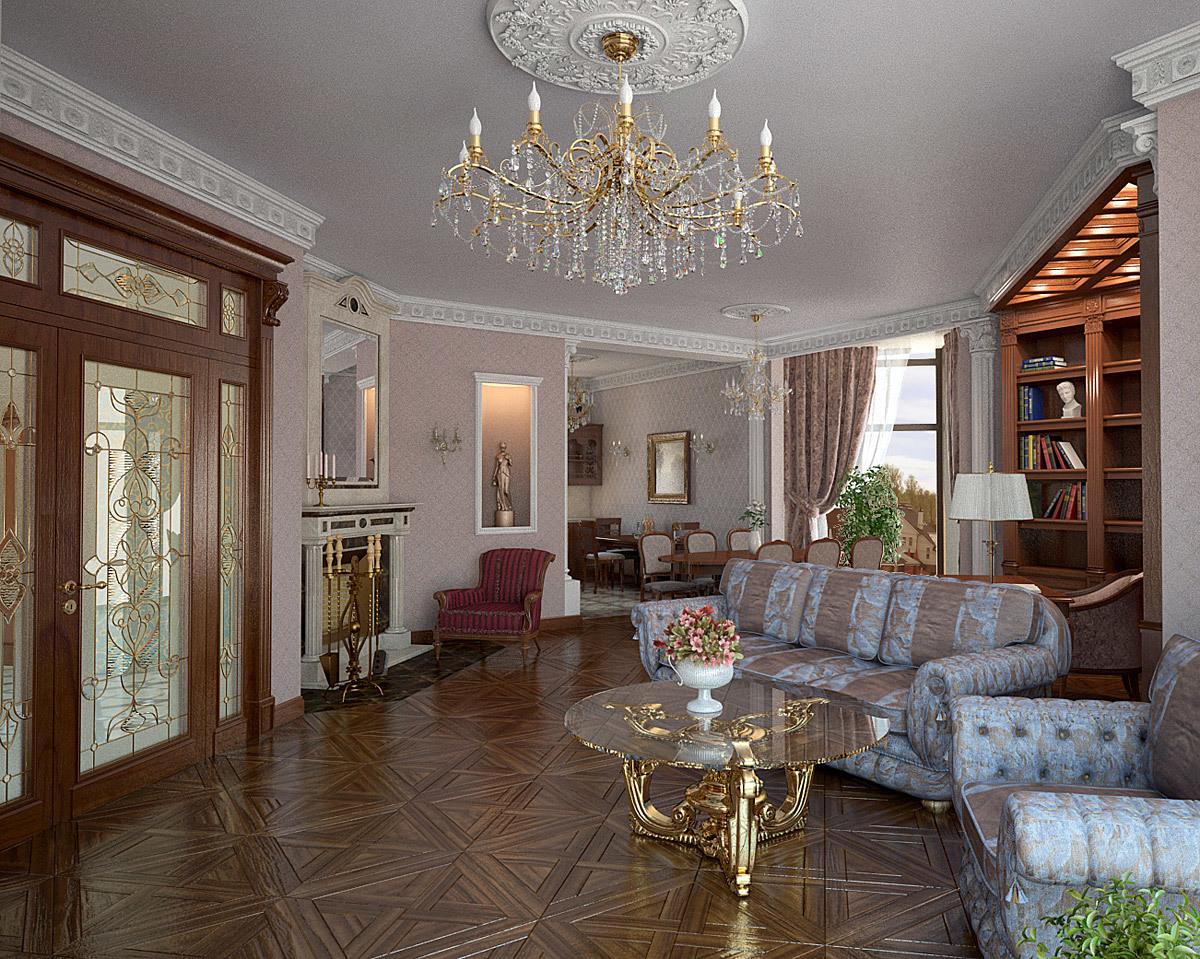 .Центральным элементом гостиной является люстра, безусловно дорогая и эффектная, с большим количеством ламп и хрустальных подвесов.