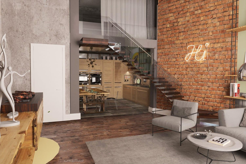 Гостиная с камином в стиле loft