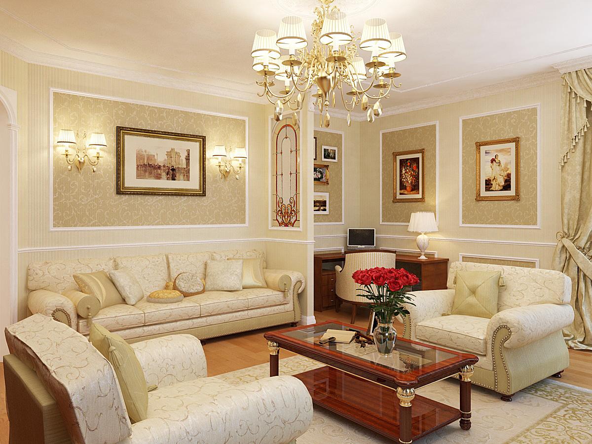Гостиную в классическом стиле принято украшать массивными зеркалами в широких рамах, картинами с пейзажами или портретами в дорогом обрамлении.