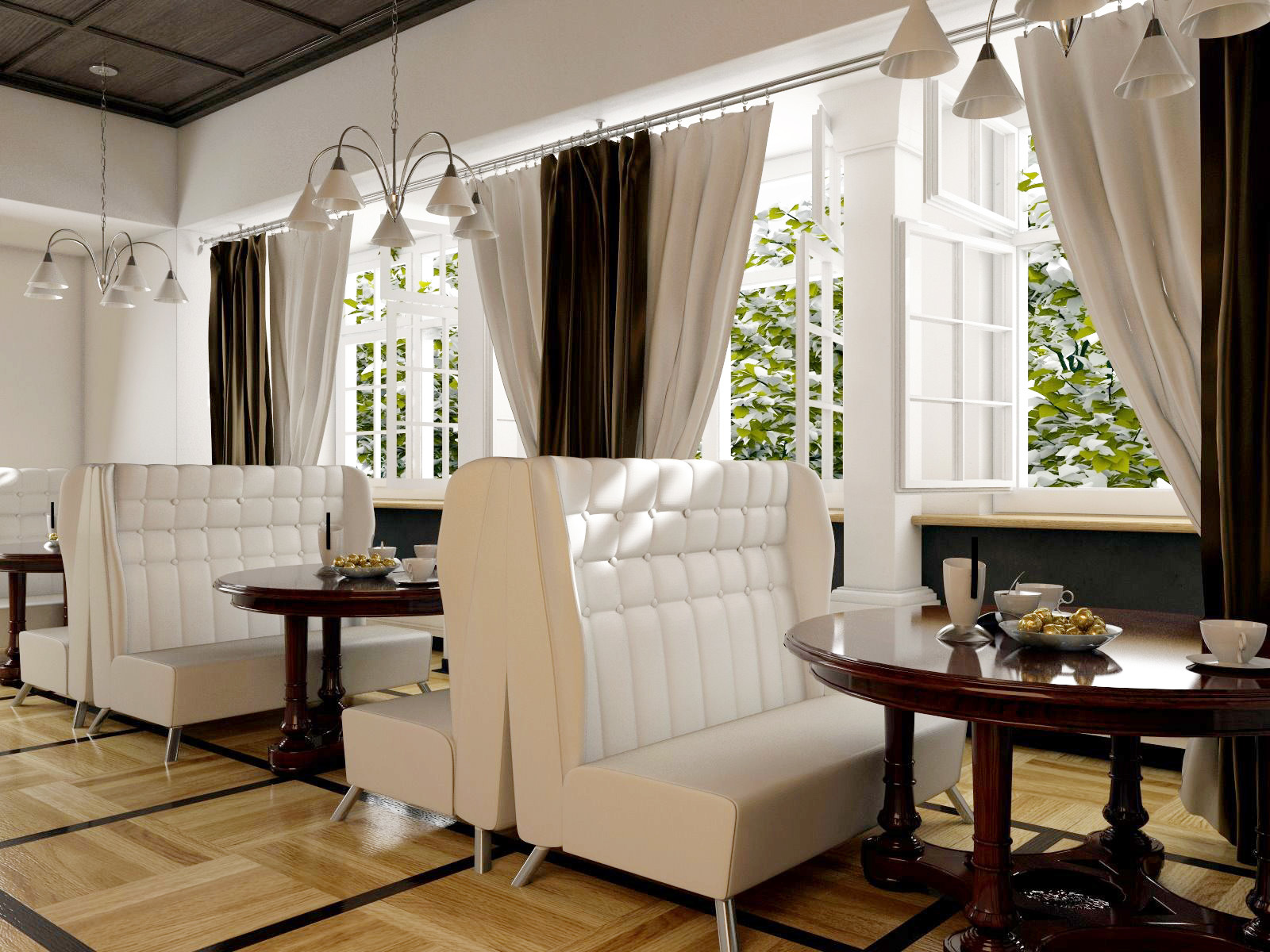 Диваны для обеденного зала подбирайте с обивкой из ткани, обработанной специальным раствором против пятен.