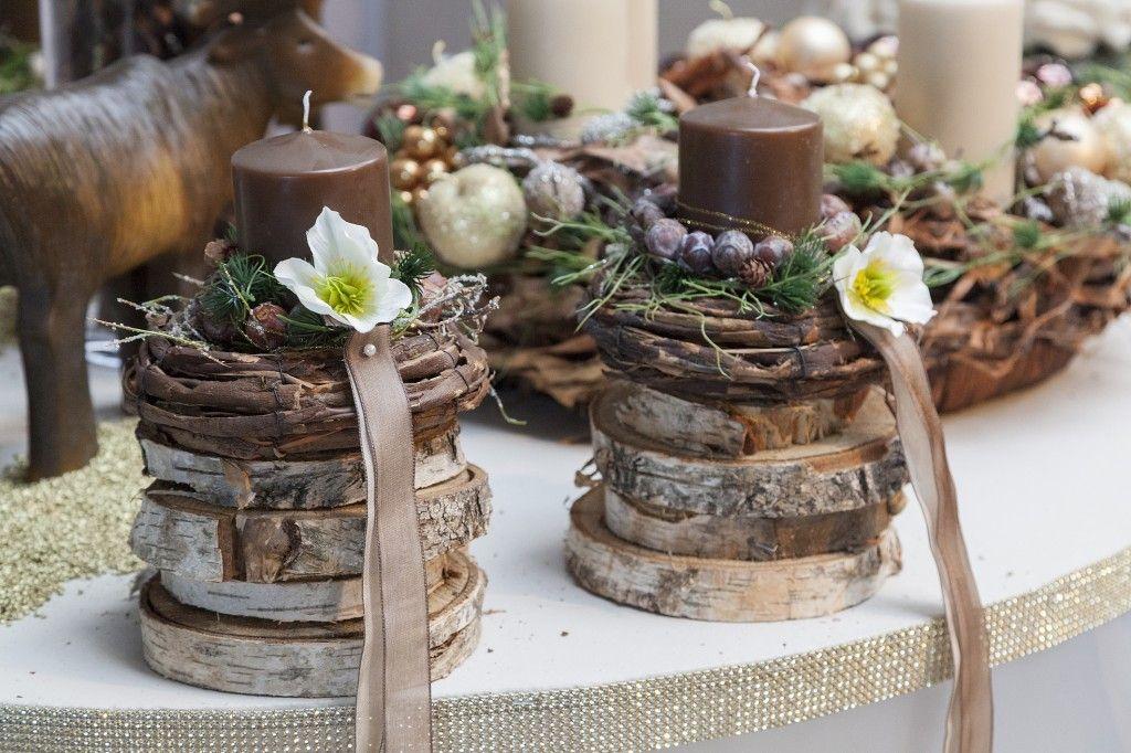 Пасхальный декор. Подсвечники из деревянных спилов