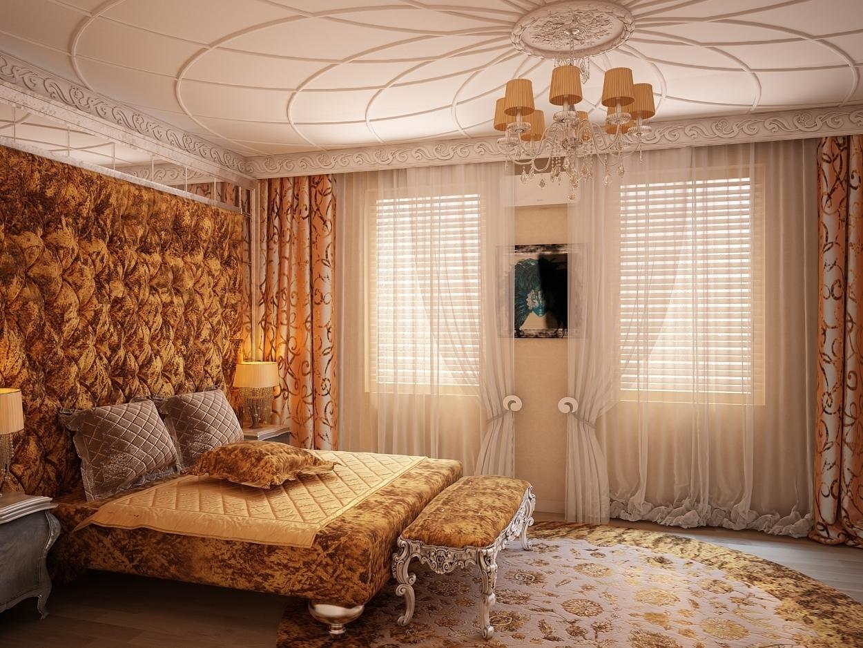 Массивные предметы мебели, огромные люстры и ,соответствующие им, темные тона в текстиле и отделке.