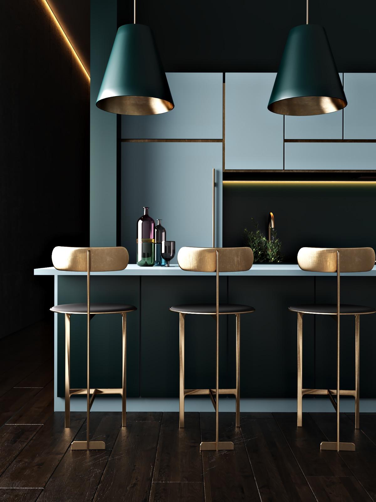 Черная кухня с золотыми акцентами