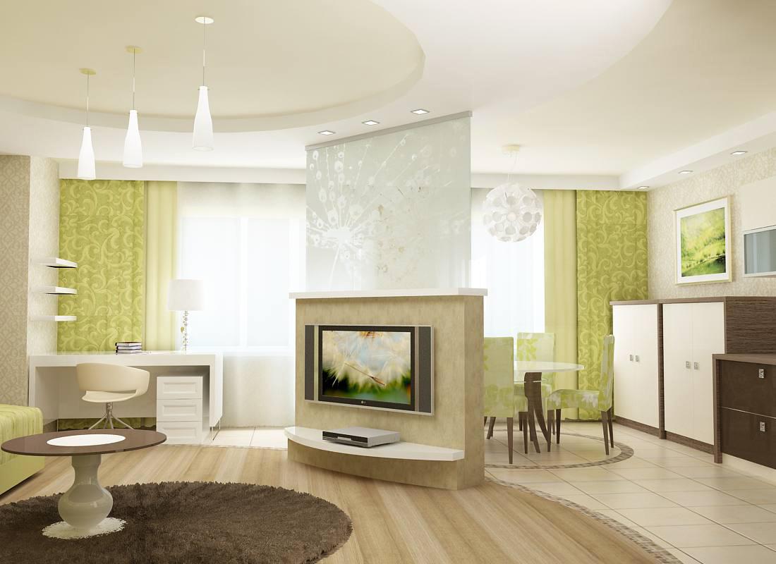 Гостиная-студия является центральным помещением в доме, где располагаются разные зоны отдыха. Поэтому и вложение средств в ремонт гостиной наибольшее.